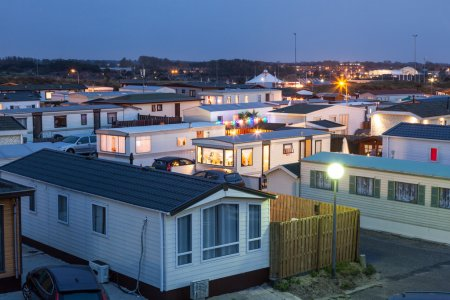 Mobile Home Park at Night